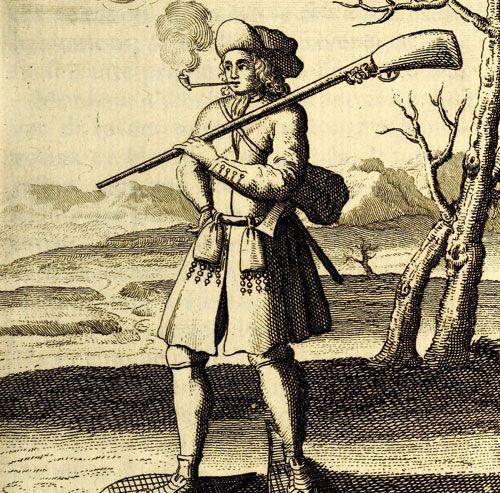 Représentation d'un Canadien en raquette allant en guerre sur la neige, publiée en 1722 par Claude-Charles Bacqueville de La Potherie.